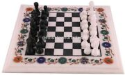 White Marble Chess Set Indoor Handmade Game Multi Stone Mosaic Art Décor Gifts