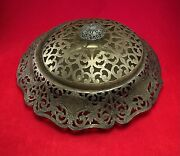 Antique Filigree Folded Metal Console Covered Bowl Silver Plate Hallmarks