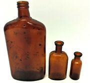 Mixed Antique And Vintage Lot Used Amber Colored Glass Whiskey Medicine Wt Bottles