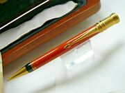 Parker Duofold Special Edition Orange Pencil 0.9mm / New In Original Wooden Box