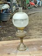 Barn Find Antique Duplex Double Burner Oil Lamp Chimney And Acid Etched Shade