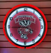 Wisconsin Badgers Red/white Double Ring Neon Clock 18-nib-discontinued Old Logo