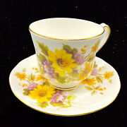 Vintage Royal Winchester England Bone China Tea Cup Saucer Yellow Flower 3andrdquow
