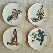 4 Gorham Norman Rockwell 10 Wall Plates Four Seasons 1974 Grandpa And Hangers