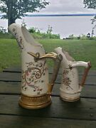 Two 19th C English Porcelain Stag Horn Pitchers