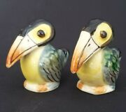 Vintage Toucan Salt And Pepper Shakers Occupied Japan 2 3/8ceramic Hand Painted