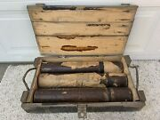 Vintage Vietnam Era 81mm Cannon Wood Case With Cartridge Containers