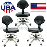 3pcs Doctor Dentist Adjustable Chair Hydraulic Rolling Stool Black Pu Leather