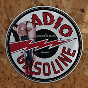 Vintage 1947 Wiltshire Oil Co.'s Radio Gasoline Porcelain Gas And Oil Sign