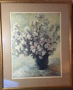 """Claude Monet """"vase Of Flowers"""" - Matted And Framed - Ethan Allen 07 5971"""
