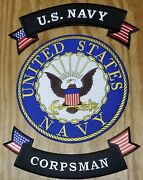 Us Navy Shield Corpsman 10 Inch Back Patch With Up And Low Rockers.