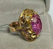 Ring Russian Vintage Gold 14k 583 Large Stone Rare Ring Curl 0534