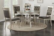 Lavish Dine Formal Dining Table W Curve Legs 5pc Set Silver Accent Tufted Chairs