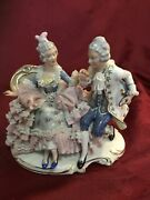 Sandizell Dresden Porcelain Lace Figurine Courting Couple On Chaise Lounge