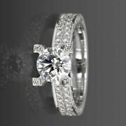18k White Gold 2.9 Carat Diamond Solitaire W/ Side Accents Wedding Ring