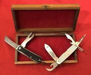 Ww2 British Army Knife And 1981 Camillus 4 Function Utility Knife In Storage Box