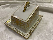 Noritake Covered Butter Cheese Dish Gold Trim Hand Painted 175
