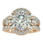 Antique 6.43 Tw Oval With Baguette Cut Vintage Style Halo Wedding Ring-10k Gold