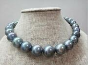 Top Huge 1814-17mm South Sea Genuine Black Gray Blue Round Pearl Necklace 0818