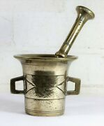 An Antique Brass Pestle And Mortar Apothecary Kitchen Decorative Object