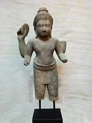 Khmer Sandstone Male Divinity Figure Fragment. Angkor And039kulenand039 Style 9-14th C.