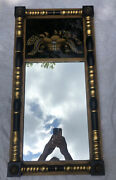 Vintage Hitchcock Furniture Federal Style Gold Leaf Mirror W/reverse Painting