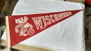 Vtg Wisconsin Badgers Rare Angry Mascot Full Size Vintage Felt Pennant W/crest