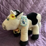 Nwt Vintage Bovine Beauties Andldquoclementineandrdquo Dairy Cow Plush Toy W/cowbell 1988