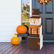 Glitzhome 36h Wooden Double-sided Christmas Snowman Fall Scarecrow Porch Decor