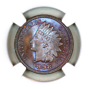1898 Ms66 Bn Ngc Indian Head Penny Premium Quality Superb Eye-appeal