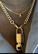 Louis Vuitton Auth Working Lock And Key On Logo Chain Necklace - W/lv Gift Box