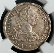 1787, Mexico, Charles Iii Of Spain. Silver 2 Reales Coin. Top Pop Ngc Ms-63