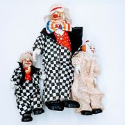 Vintage Clowns With Ceramic Porcelain Hands Feet Heads. Old Clothing. Lot Of 3.