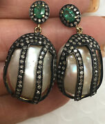 Mabe Pearl Earrings Large White Natural Shape Cage Drop Diamond Emerald Trim 14k