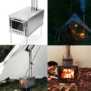 Outdoor Camping Tent Heater Stove Portable Shelter Warming Fire Wood Chimney