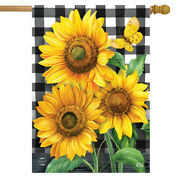 Checkered Sunflowers Summer House Flag Floral Everyday 28 X 40 Briarwood Lane