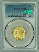 1847 Pcgs Ms61 Cac Liberty 5 Gold Half Eagle, Very Choice As Per Cac, Pq Piece