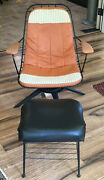 Vintage Mcm Eames Style Homecrest Wire Lounge Chair And Ottoman