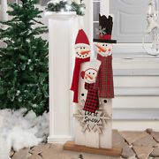 """Glitzhome 35""""h Wooden Snowman Family Porch Sign Christmas Welcome Home Decor New"""