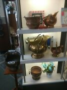 Copper And Brass Coal Scuttle With Delft Handles And Lions Head Mounts.