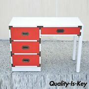 Vintage Modern Campaign Style Red White Formica Hollywood Regency Writing Desk
