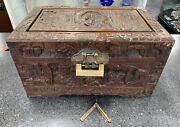 Vintage Chinese Hand Carved Chest Lock Box With Key