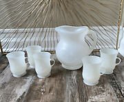 Genuine Kool Aid White Plastic Pitcher And 5 Cup Handles Vintage Free Shipping