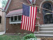 Vintage Us 48 Star Flag 3' By 5' With Old Original Wooden Flag Pole Valley Forge