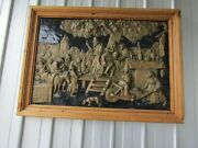 Wall Hanging / Fireplace Screen Embossed Copper / Brass Medieval Tavern Scene