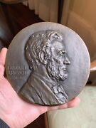 Rare Antique Bronze Wall Plaque President Abraham Lincoln Signed Peinlich Mint