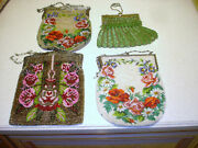 Lot Of 4 Antique Victorian Micro Beaded Floral Design Metal Frame Purses