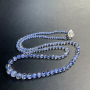 Top Natural Blue Dumortierite Quartz Rutilated Hair Crystal Round Bead Necklace