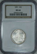 1891 Ngc Ms66 Pq+ Seated Quarter, Blast White, Super Eye Appeal, Luster And Strike