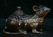 Old Coins Rare Coin China Copper Gold Feng Sui 12-year-old Rat Incense Burner